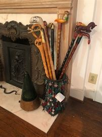 folk art walking canes