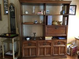 Solid wood Pecan wall unit.