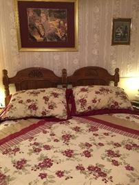 Queen-size solid oak headboard part of a bedroom set