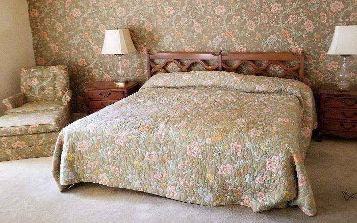 King size bed, custom bedding