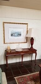 elegant sofa table, waterford crystal