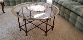 asian bamboo style glass top tray table