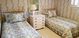 Heywood Wakefield white painted chest, twin beds and bedding and we have twin sheets