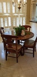 smaller size solid wood pedestal table and chairs
