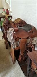 Simco vintage western saddle in the foreground now $350