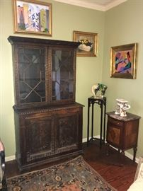 antique English oak carved bookcase