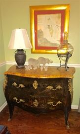 French Bombay chest with marble top, large apothecary jar on stand, collection of Lalique elephants