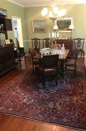 English oak draw leaf pub table with 4 leather chairs