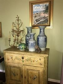 hand painted cabinet, blue & white porcelain temple jars, electrified sconce