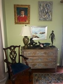 French carved fruitwood 3 drawer chest, bronze statues