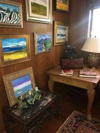 pine draw leaf pub/game table, Jim Becker paintings,  Elk family by LeDuc, bronze sculpture