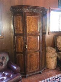 English oak armoire/entertainment center, feather basket