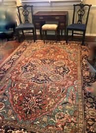 "beautiful Heriz, 9'7"" x 8'9""    Rug is sold.    Asian writing desk, pair of Chippendale chairs"