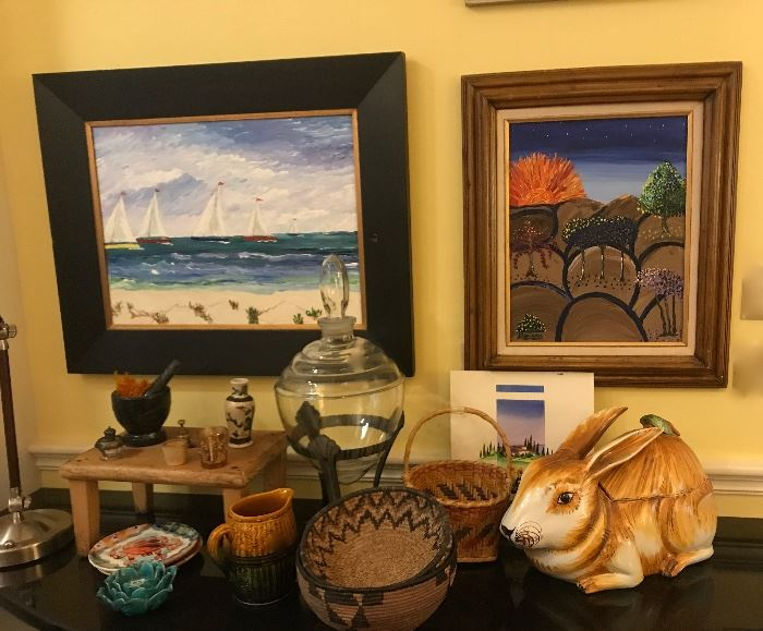 large Italian rabbit tureen, Indian baskets, Jim Becker paintings