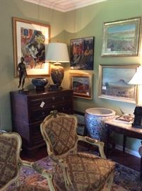 French carved fruitwood 3 drawer chest, large cloisonné bowl, bronze statues, paintings  by Amy Giust , Replogle and K Mack