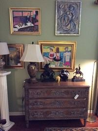 French carved fruitwood 3 drawer chest, Satsuma vase, bronze sculptures, paintings by Lynn Green Root, and others