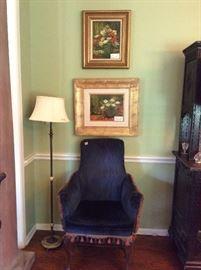 pair of blue velvet chairs , paintings by Loyacano
