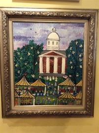 "Jim Becker painting ""The Big Day"",  in Ole Miss Grove"