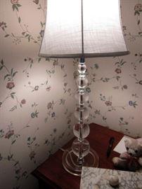 Pair vintage glass lamps
