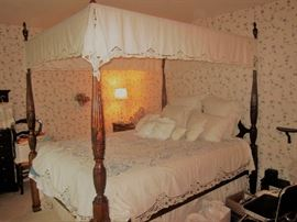 Queen canopy bed , mahogany with matching dresser,mirror and nightstand