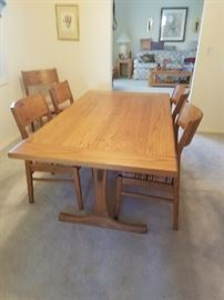 Conant Ball Furniture Maker's dynamic Danish style Retro Vintage Table with Inlaid details and 6 Chairs.  A collector will snap this great find up fast!
