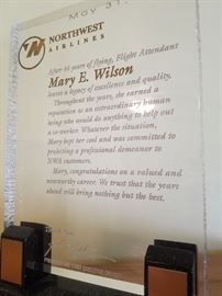 """Mary"" served 44 years as a Northwest Airlines Flight Attendant...we have lots of collectible items from this time."