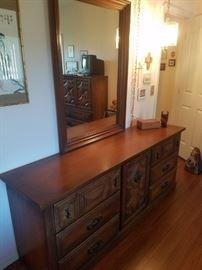 Lovely Credenza Dresser with Framed Mirror