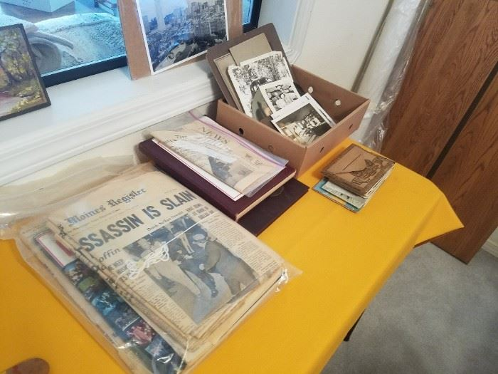 Lots of collectible paper, photos, postcards, tin types, etc. This is just a bit of it.
