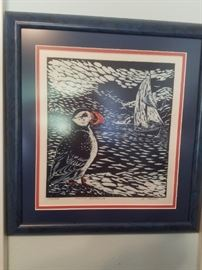 Wood Block signed by Artist G. Tracy - Puffin