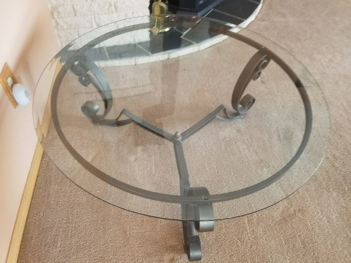 Glass and Wrought Iron Round Timeless Coffee Tables