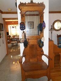 antique oak hall tree