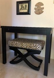 Leopard Bench and Black Desk