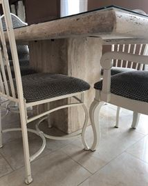 Italian Travertine Dining Table, 4 Metal Chairs, 2 Wood Chairs