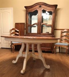 Glass Door Hutch, Round Dining Table w Additional Leaf, Pair Ladderback Chairs