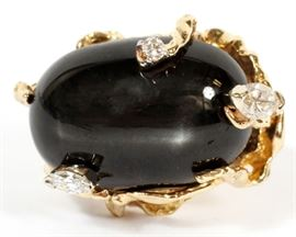 LADIES, 14KT YELLOW GOLD, 0.43 CT DIAMOND AND BLACK STAR SAPPHIRE RING, 16.8 GMS TOTAL WT Lot # 0030