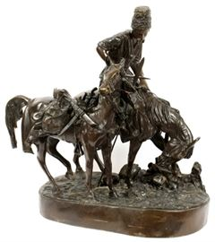 "AFTER EVGENI ALEXANDROVICH LANCERAY (RUSSIAN, 1848-1886), BRONZE SCULPTURE, 19TH C, H 27"", W 15"", L 28"", MOUNTED COSSACK AFTER BATTLE Lot # 0041"