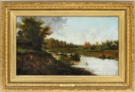 "WILLARD LEROY METCALF (AMERICAN, 1858-1925), OIL ON CANVAS, H 11"", W 19"", ""OLNEYVILLE"" Lot # 2001"