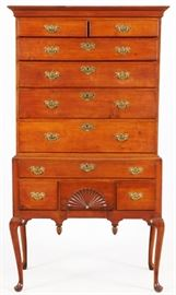 "NEW ENGLAND QUEEN ANNE CARVED CHERRY HIGH CHEST ON CHEST, 18TH C., H 73"", W 40"" Lot # 1006"