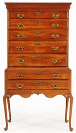 "QUEEN ANNE MAPLE HIGHBOY, 18TH C., H 72"", W 37 1/2"", D 20"" Lot # 1007"
