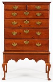 "LATE QUEEN ANNE MAHOGANY HIGHBOY, C. 1760, H 64 1/2"", W 40"", D 23"" Lot # 1016"