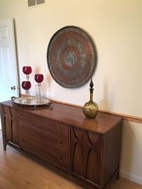 Another view of mid-century sideboard, and hand-made copper/steel artwork - Brasilia (Broyhill)