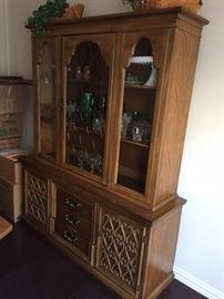 Simply gorgeous china cabinet, high quality hardwood. This is well over 45 years old and are not made this well anymore.