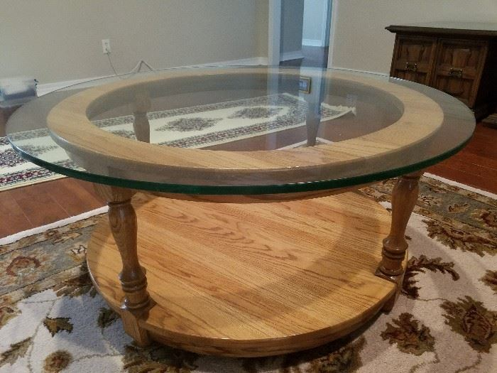 Dedeaux Clan Furniture Custom Solid Oak Coffee Table With Heavy Glass Top