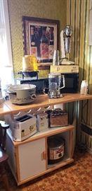 microwave cart, island, kitchen appliances, vintage milkshake makers