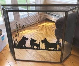 "Circa 1940 fire screen of 3 Scottie dogs attributed to the British artist Marguerite Kirmse (1885-1954). In very good condition with only minor wear in a few spots, measuring 34"" high x 45"" wide x 9 ½"" deep."