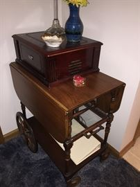New, working record player  Tea cart with drop leafs