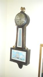 reverse painted wall clock. New Haven Clock Co. 8 day, half hour strike