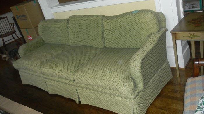 "green fabric sofa, by Pearson. 86"" long"