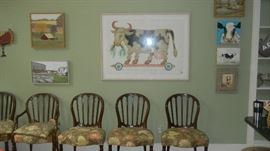 cow artwork & formal dining chairs