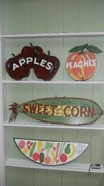 signs.  Apple/corn & peaches signs are 2 sided